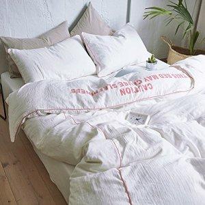 Un lit équipé quatre morceau de fil de coton solide double 1.8m frais petit lit double couette couette coton blanc,feuilles,2.0 m (6,6 pieds) lit
