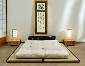 Combinaison 2 Tatamis(90x200x5,5cm) futon en coton 2 couches latex(160x200x13cm)