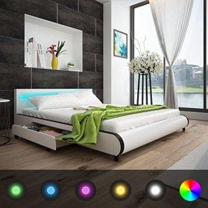 Furnituredeals Lits double tête de lit Blanc avec LED 180cm + Matelas mousse lit matrimonial