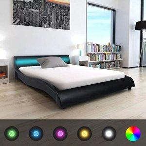 WEILANDEAL Lit avec LED et Matelas, Cuir Artificiel 140x 200cm Noir Lits Bande LED: