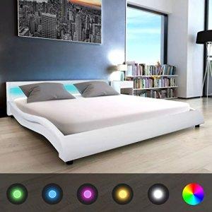 WEILANDEAL Lit avec LED et Matelas, Cuir Artificiel 180x 200cm Blanc Lits Bande LED: