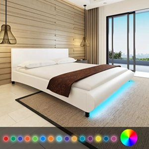 WEILANDEAL Lit avec Matelas et LED de Cuir Artificiel Blanc 180x 200cm Lits Base de Lattes à Ressorts