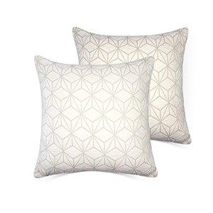 Lot de 2 housses de coussin de décoration de la maison – 45x 45 – Velours de coton – Avec fermeture Éclair invisible (housse uniquement) – Par Mrniu, Coton, Geometry-White-2pcs, 18*18