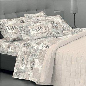 Goldenhome Emma – Parure de lit double- 1 Paire de taies d'oreiller + 1 Drap Housse + 1 Drap plat beige