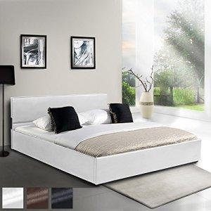Miadomodo – Lit en Simili Cuir avec Sommier à Lattes Relevable 200 x 160 cm (Taille/Couleur au Choix)