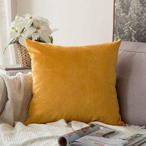 MIULEE Housse de Coussin Velours Scandinave Canapé Salon/Taie d'oreiller Décoratif Chambre Voiture 45x45cm Jaune Moutarde 1 Pièce