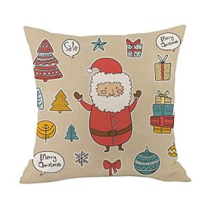 Tleegu Coque Polyester, Santa Renne Coton Lin de Noël Taie d'oreiller Canapé de Voiture, Coton, I, Taille Unique