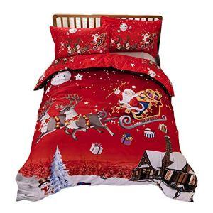 Lamptti Ensemble de couvertures de Drap de Couette Rouge Design Joyeux Noël – 3Pcs Ensembles de literie de Bonhomme 1 Housse de Couette, 2 taies d'oreiller, Un Cadeau pour Noël, 220 * 240cm