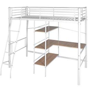 WEILANDEAL lit Haute avec Bureau 200x 90cm Blanche et Marron métal Lits Taille de Bureau: 45x 85,5cm (Longueur X Largeur)