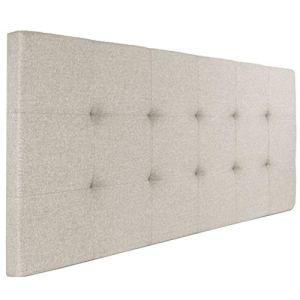 IDMarket – Tête de lit capitonnée en Tissu 160×58 cm écrue