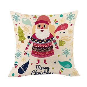 Tleegu Coque Polyester, Santa Renne Coton Lin de Noël Taie d'oreiller Canapé de Voiture, Coton, E, Taille Unique