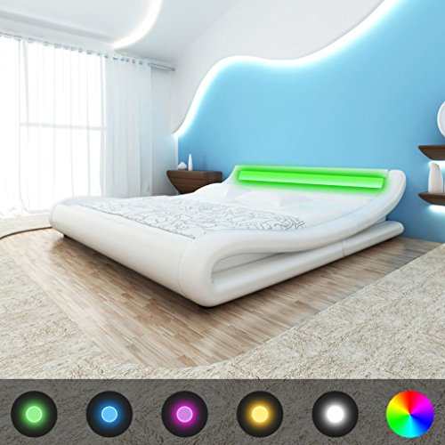 WEILANDEAL Structure de lit avec LED 140x 200cm en Cuir Artificiel Blanc Lits Tamano de Matelas, Compatible: 140cm x 200cm (Non Inclus)