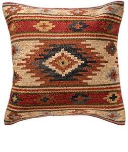 Housse de coussin Kashi en laine à motif géométrique issue du commerce équitable, dos en coton avec fermeture Éclair, 60cm x 60cm