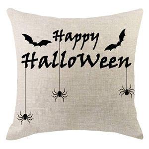 Cocila Housse de Coussin décorative Halloween fantôme Citrouille, Lin, m, Taille Unique