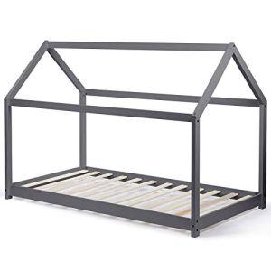 IDMarket – Lit cabane 90×190 cm Gris