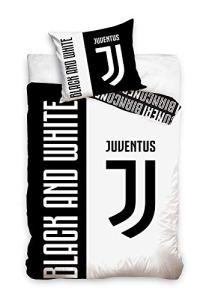 Juventus Parure de lit Football Réversible 100% Coton – Housse de Couette 140×200 cm + Taie d'oreiller Noir et Blanc