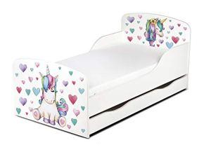 Moderne Lit d'enfant Toddler avec Matelas Couleur Blanc Dimensions 140×70 Chambre pour Les Enfants Meubles pour Enfants Confortable Fonctionnel Lit Simple avec Un Tiroir Unicorn Licorne