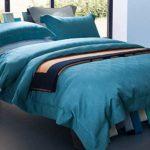 YQQ Ensembles de luxe housse de couette jacquard de literie grille géométrique épaissies 4 pièce ensemble housse de couette dans le lit de couleur pure, vert foncé, large YQQ-KJY