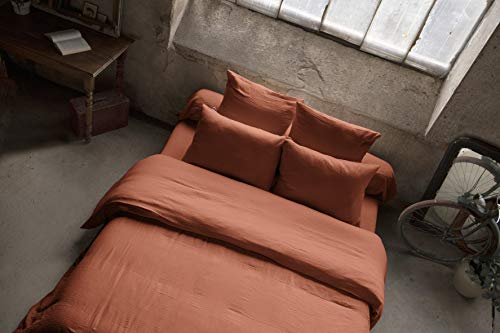 Housse de Couette Gaze de Coton 240 x 220 cm Terracotta (Orange)