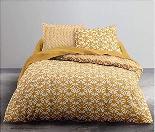Housse de Couette réversible 220×240 Coton 57 Fils (Baroque Yellow)