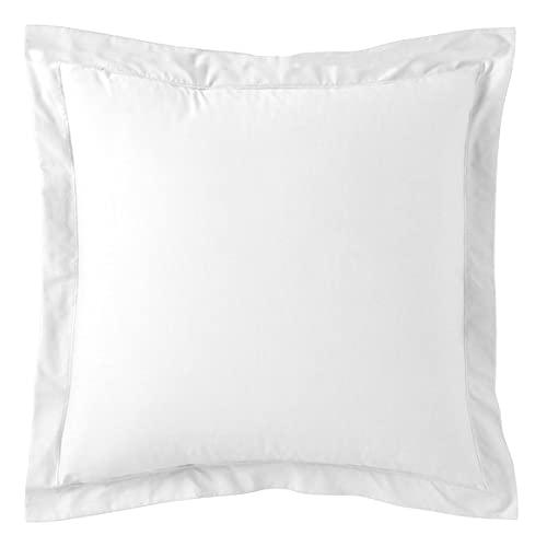 Taie Oreiller 65×65 cm Blanc 100% Coton 57 Fils Carré Lot de 1 Standard 100 de Oeko-TEX