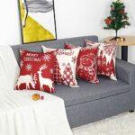 Lot de 4 Housses de Coussin Noël Bonhomme de Beige Rouge Château Modèle Décoratif Canapé Taie d'oreiller Décoration pour Chambre, canapé, Chaise, Voiture, Lit,Jardin 45 x 45 cm