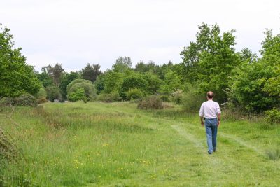 Man walksindown the side of a grassy field, by a hedge