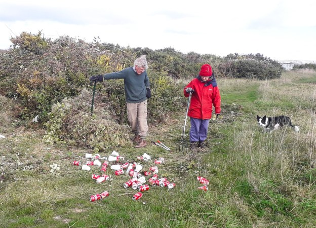 Two people, dressed for the cold, surveying a pile of coke cans on some grass