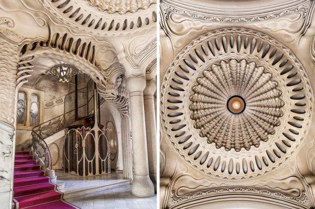 Techo e interior de la Casa Sayrach, en Barcelona