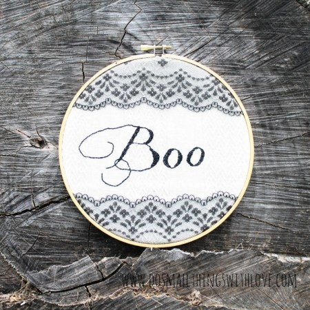 Halloween Embroidery Hoop BOO Art {Do Small Things with Love}