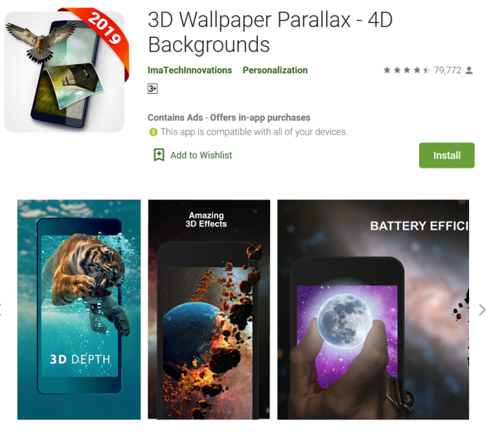 350+ official 4K wallpapers with 4D depth effect that let you feel real 3D Live Wallpaper.