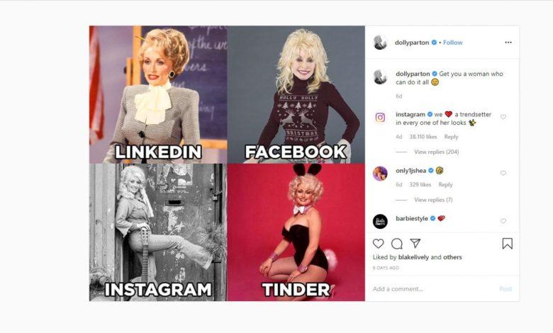 Dolly Parton, meme, Dolly Parton challenge, kolaž, Instagram, Linkedin, Facebook, Tinder