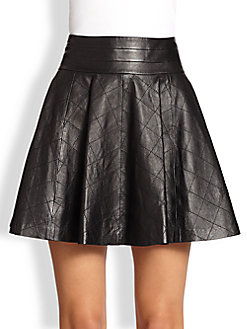 Black quilted fit and flare skirt