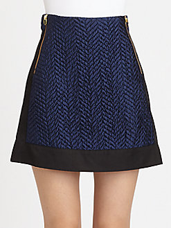 Blue and Black quilted panel skirt by Opening Ceremony