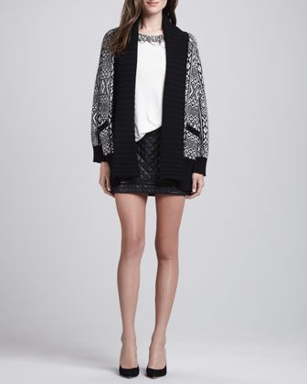 Fall Outfit inspiration - quilted skirt embellished tee long cardigan