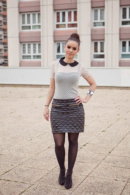 Outfit Inspiration - Quilted skirt with side zippers, polka-dotted peter pan collar top