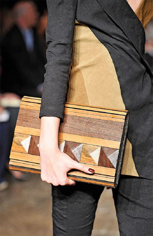 Wooden Clutch by Donna Karan