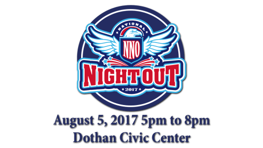 Dothan's National Night Out is Saturday, August 5, 2017 from 5pm to 8pm at the Dothan Civic Center