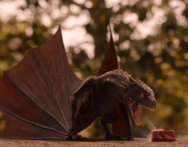 Drogon roasting his meat.