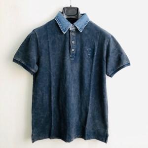 """DSL """"Denim collar"""" golf t-shirt - Navy blue - dot made"""