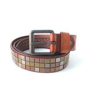 Brown leather & steel belt