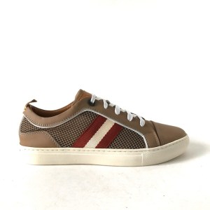 BALLY brown leather & mesh low top sneakers