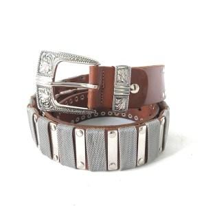 Nanni Brown leather & steel belt