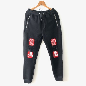 "PP ""Patches & studs"" jogger sweatpants - black - dot made"