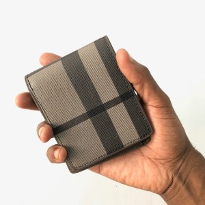 Grey Check leather Bifold Wallet