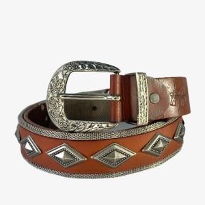"Nanni ""Steel diamonds"" brown belt - dot made"
