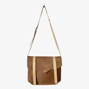 OB Chestnut brown leather laptop bag - dot made