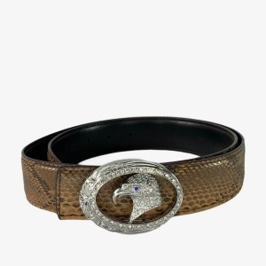 "SR ""Silver eagle"" brown snake belt - dot made"