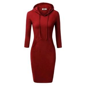 Minimalist red plain hoodie dress