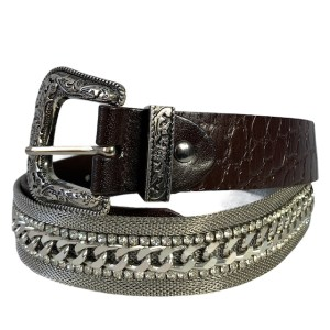"Nanni ""Silver diamonds"" choc brown belt"
